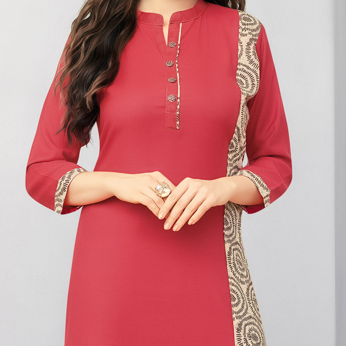 Stunning Red Colored Designer Casual Wear Cotton Kurti