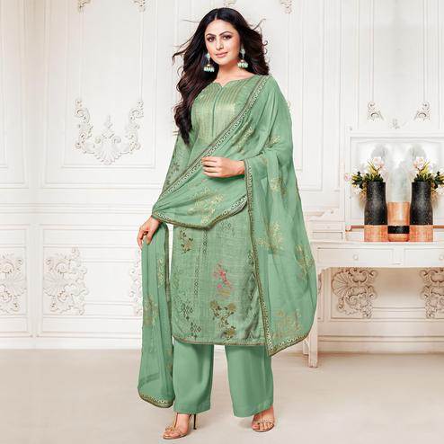 Stunning Green Colored Digital Printed Pure Muslin Silk Dress Material