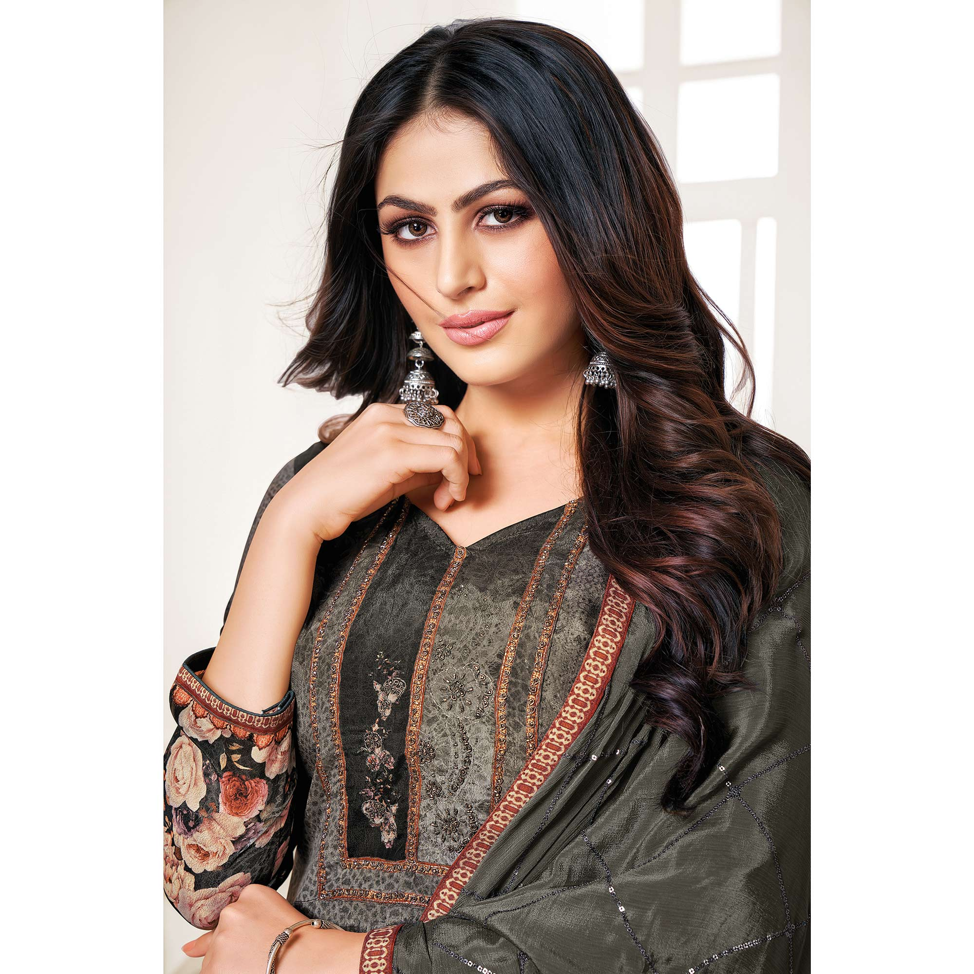 Classy Dark Grey Colored Digital Printed Pure Muslin Silk Dress Material