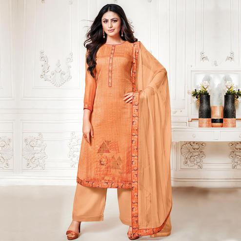 Prominent Orange Colored Digital Printed Pure Muslin Silk Dress Material