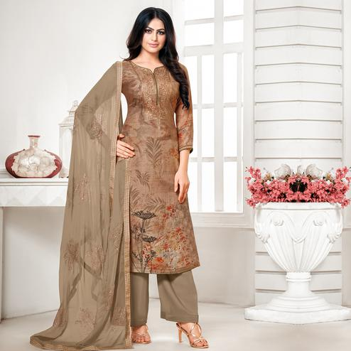 Appealing Brown Colored Digital Printed Pure Muslin Silk Dress Material