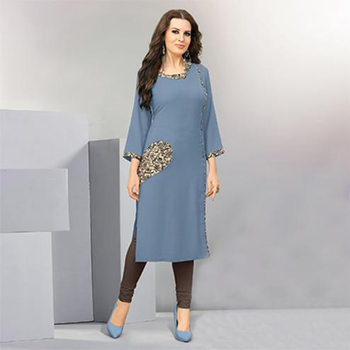 Ravishing Gray Designer Casual Wear Cotton Kurti