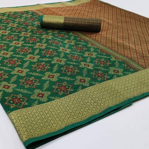 Exclusive Green Colored Festive Wear Woven Silk Saree