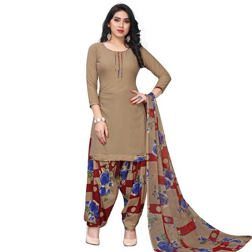 Lovely Beige-Royal Blue Colored Casual Printed Crepe Dress Material