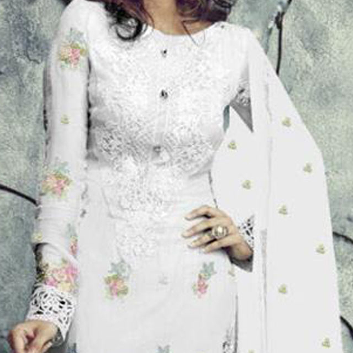 Regal White Designer Embroidered Faux Georgette Salwar Suit