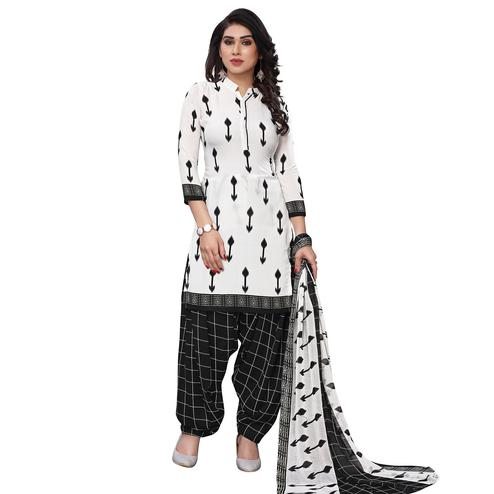 Staring White Colored Casual Wear Printed French Crepe Patiala Dress Material