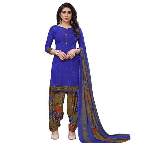 Dazzling Royal Blue Colored Casual Wear Printed French Crepe Patiala Dress Material