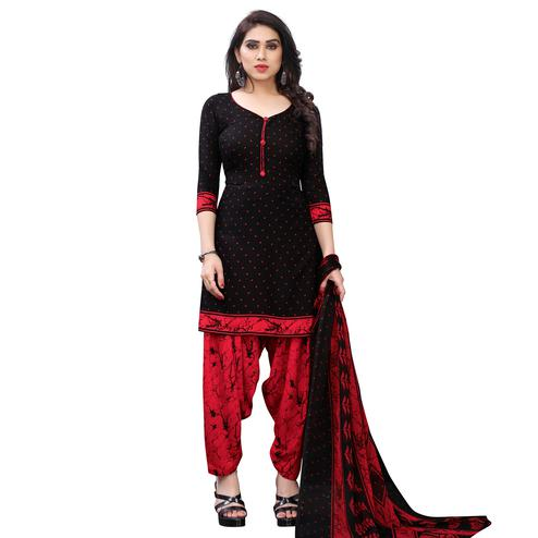 Arresting Black Colored Casual Wear Printed French Crepe Patiala Dress Material