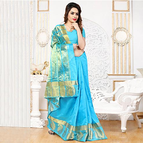 Sky Blue Weaving Silk Saree