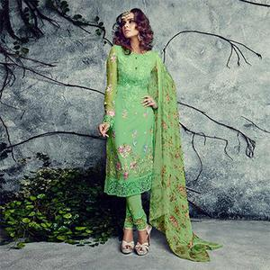 Appealing Green Designer Embroidered Faux Georgette Salwar Suit