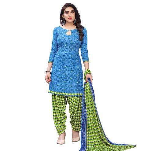 Desirable Blue Colored Casual Wear Printed French Crepe Patiala Dress Material