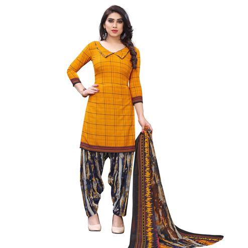 Exotic Orange Colored Casual Wear Printed French Crepe Patiala Dress Material