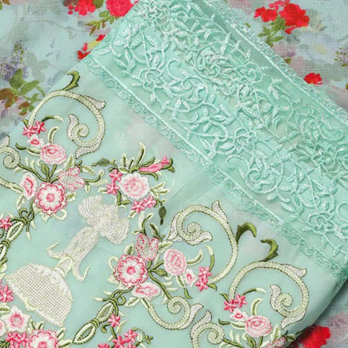 Gorgeous Light Sea Green Designer Embroidered Faux Georgette Salwar Suit