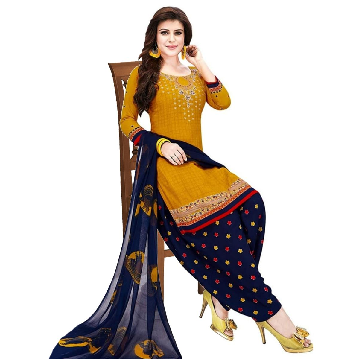 Appealing Yellow Colored Casual Wear Printed French Crepe Patiala Dress Material