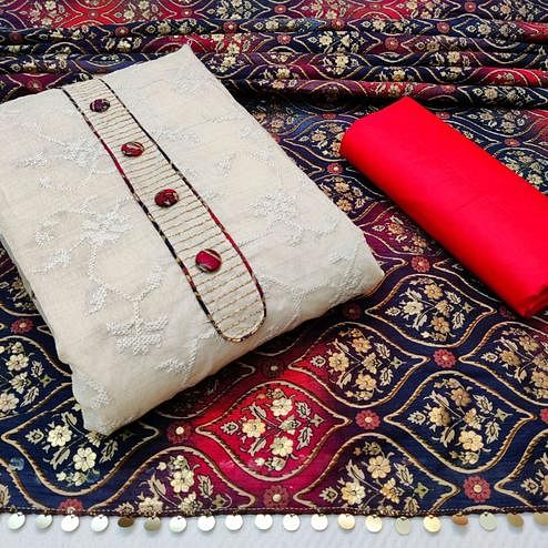 Glowing Offwhite - Red Colored Partywear Embroidered Khadi Cotton Dress Material