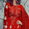 Ravishing Red Designer Embroidered Faux Georgette Salwar Suit