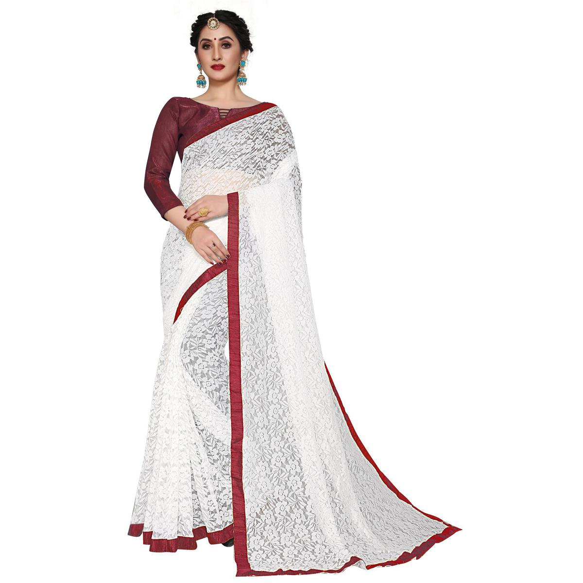 SLE - White and Maroon Net Lace Saree With Blouse