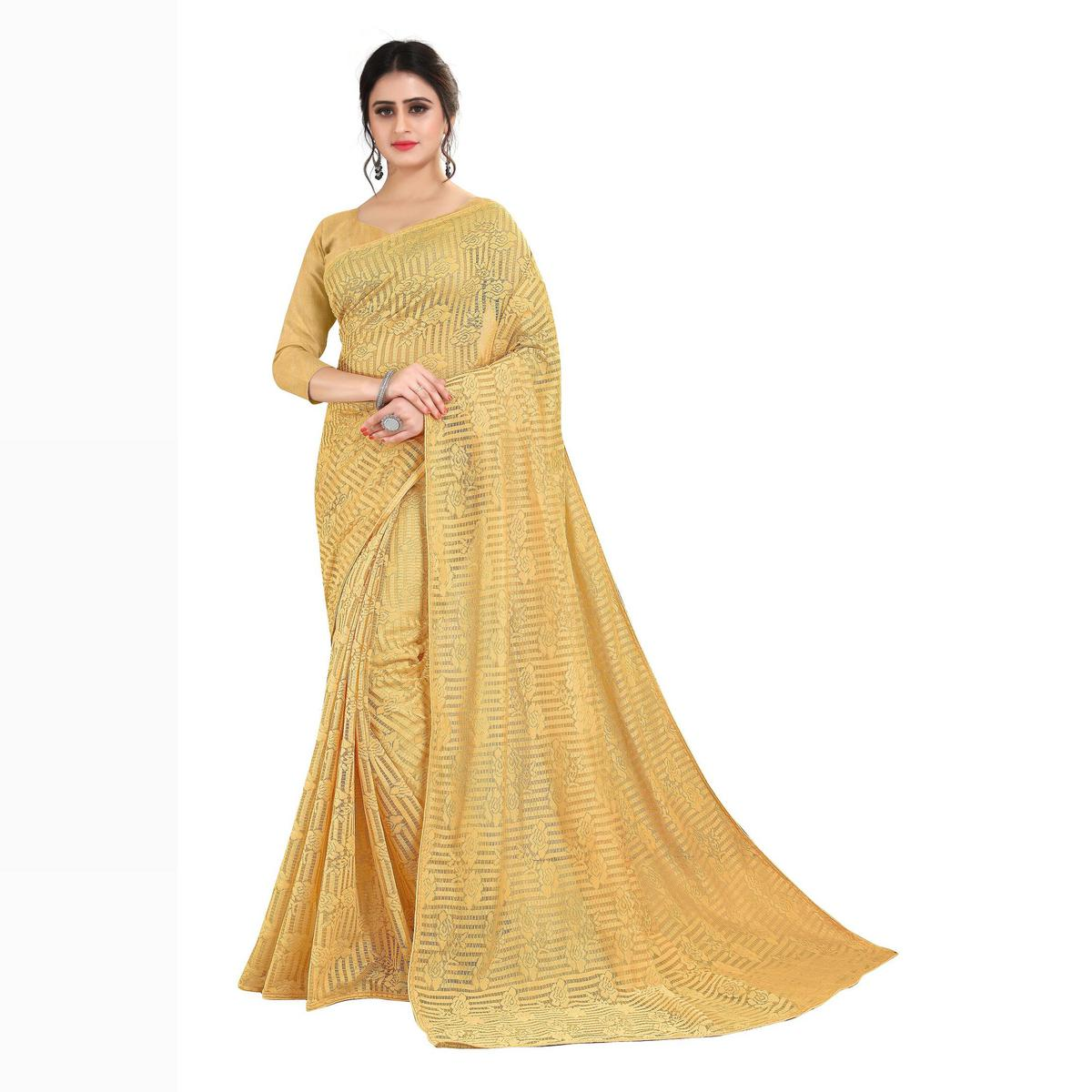 SLE - Beige Soft Net Jacquard Solid Saree With Blouse