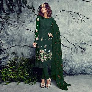 Sizzling Bottle Green Designer Embroidered Faux Georgette Salwar Suit