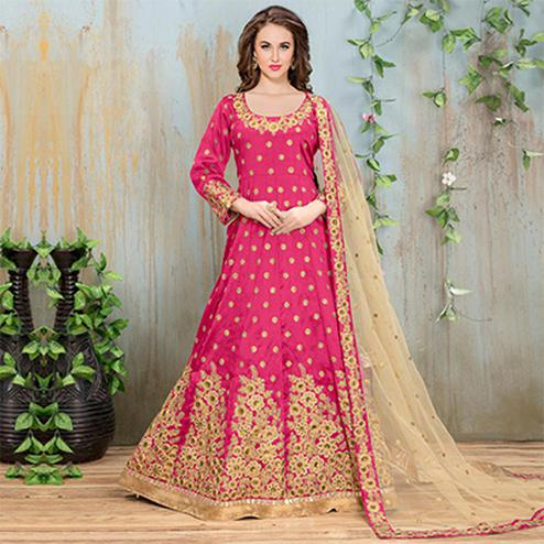 Ravishing Pink Embroidered Mulberry Silk Anarkali