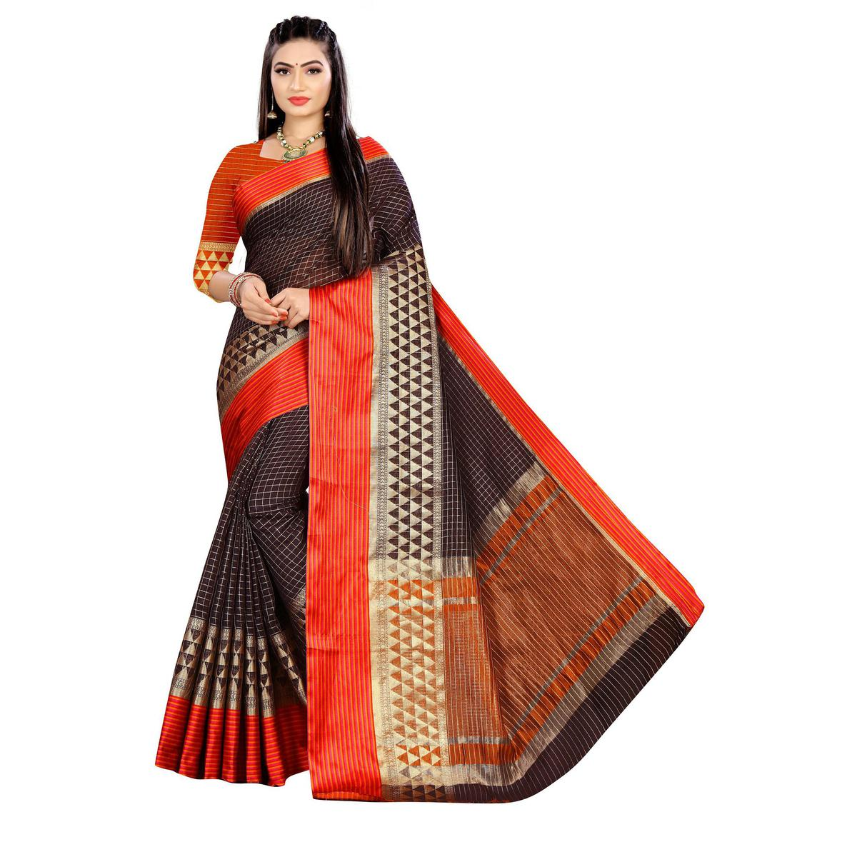 SLE - Brown Jacquard Checkered Saree With Blouse