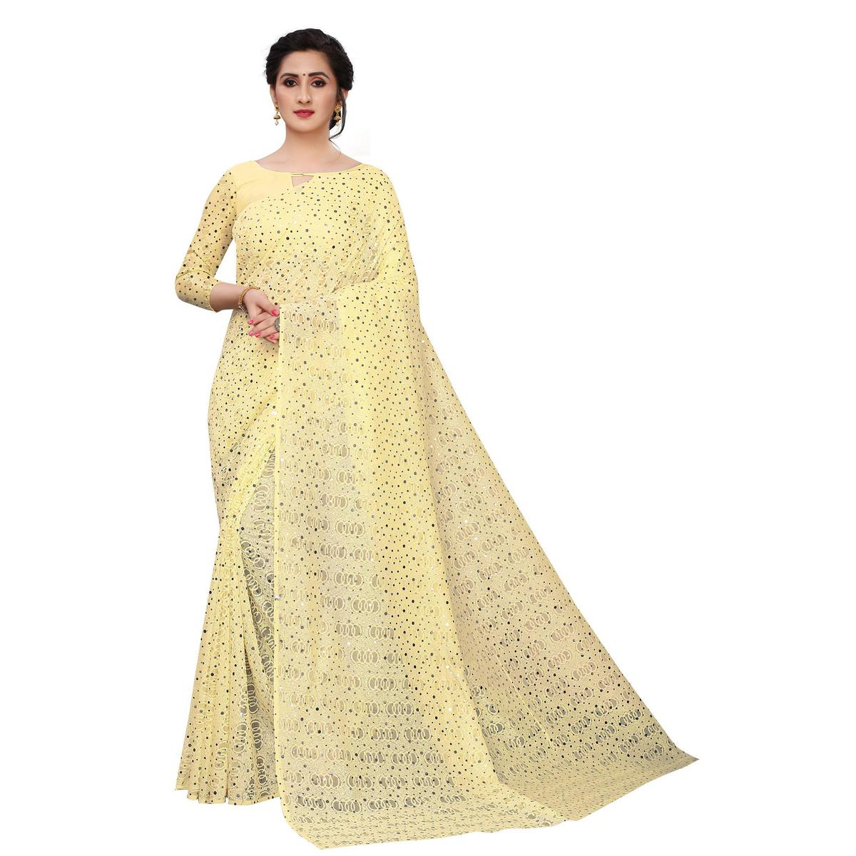 SLE - Beige Net Solid Saree With Blouse