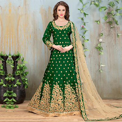 Gorgeous Green Embroidered Mulberry Silk Anarkali