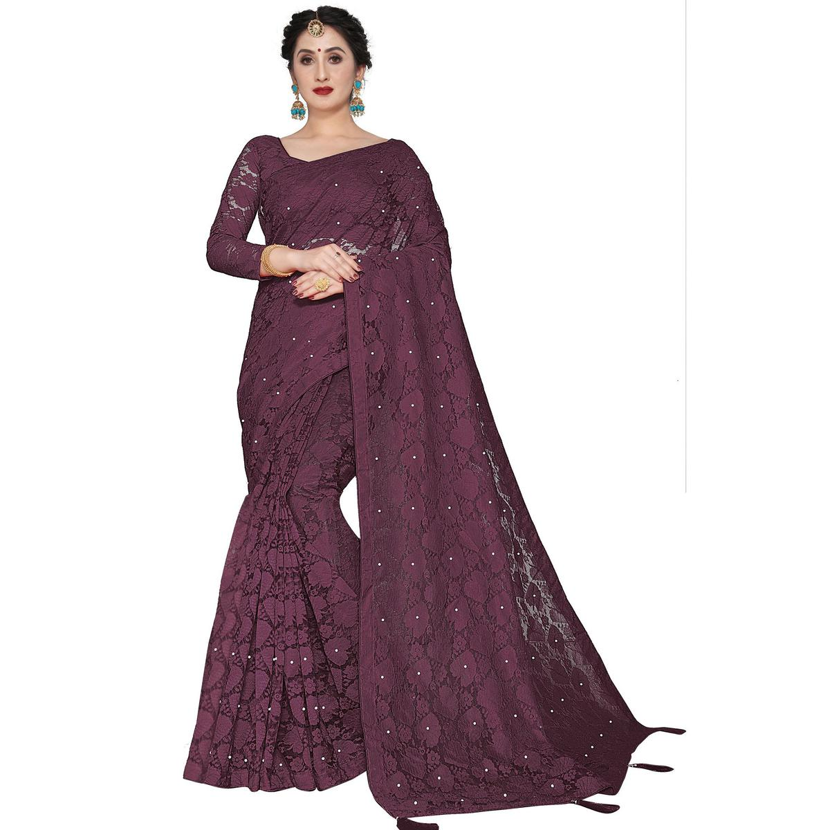 SLE - Wine Net Pearl Work Saree With Blouse