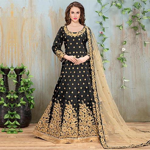 Stunning Black Embroidered Mulberry Silk Anarkali