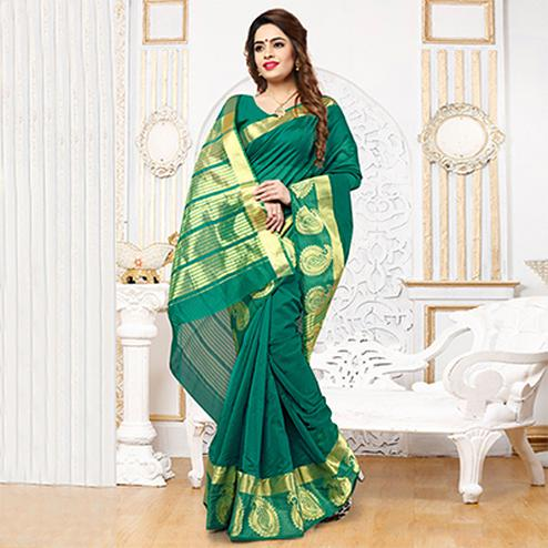 Dark Green Weaving Work Silk Saree