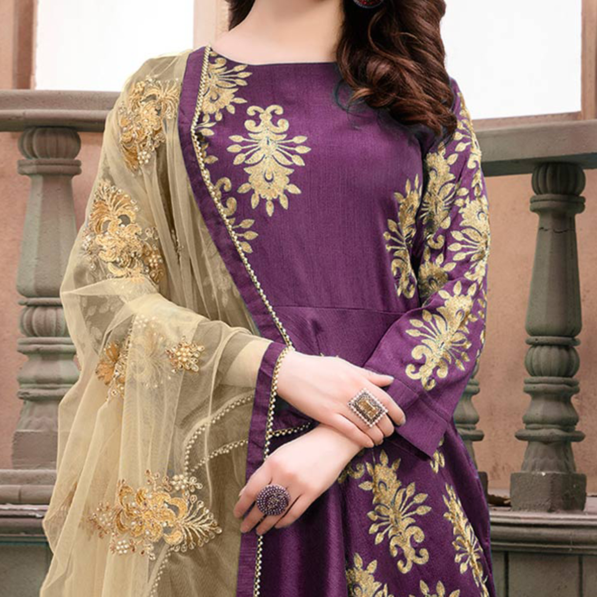 Beautiful Purple Embroidered Mulberry Silk Anarkali Suit