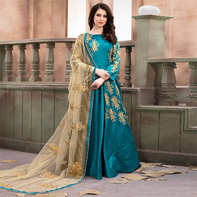 Classy Blue Embroidered Mulberry Silk Anarkali Suit