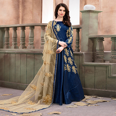 Trendy Navy Blue Embroidered Mulberry Silk Anarkali Suit