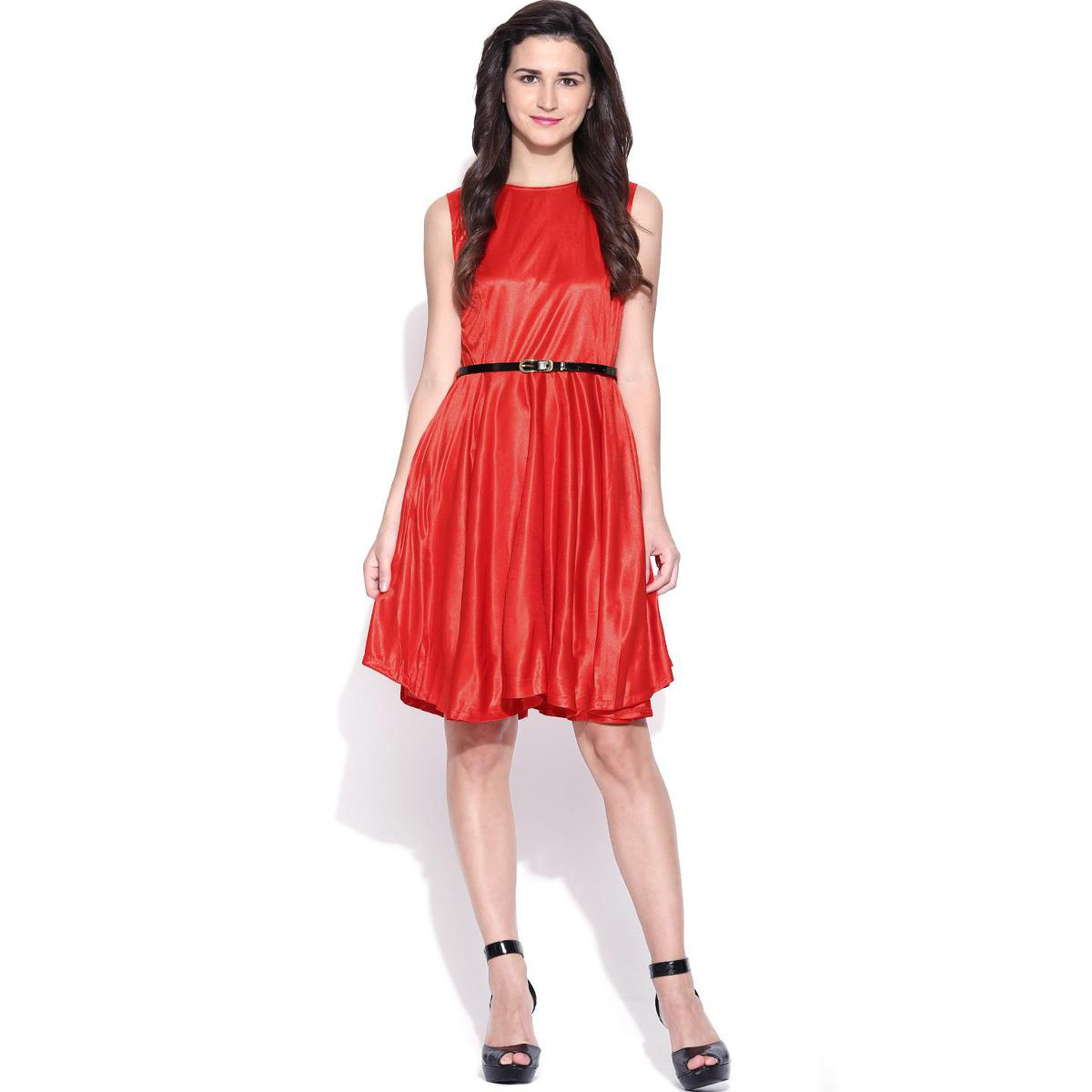 Girlyk Aurika - Red Colored Casual Wear Polyester Top