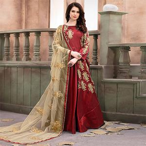 Ravishing Red Embroidered Mulberry Silk Anarkali Suit