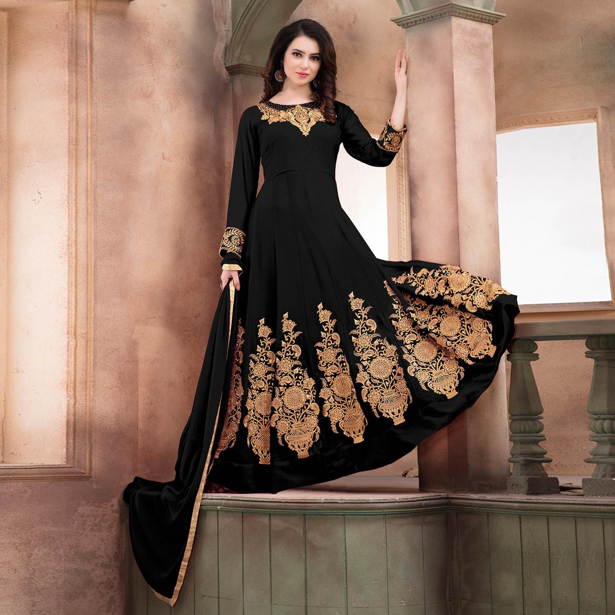 Arresting Black Embroidered Designer Faux Georgette Anarkali