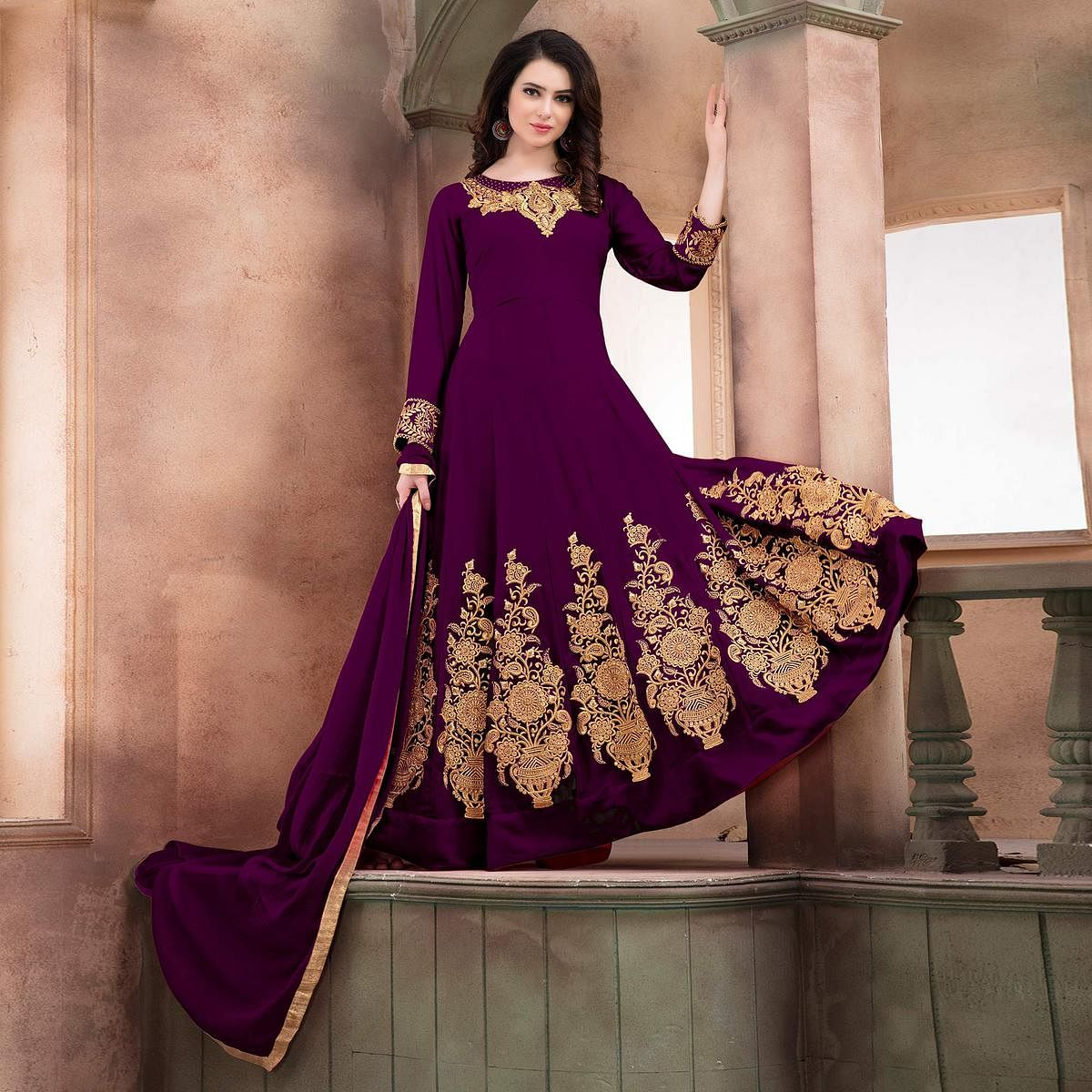 Gorgeous Purple Embroidered Designer Faux Georgette Anarkali
