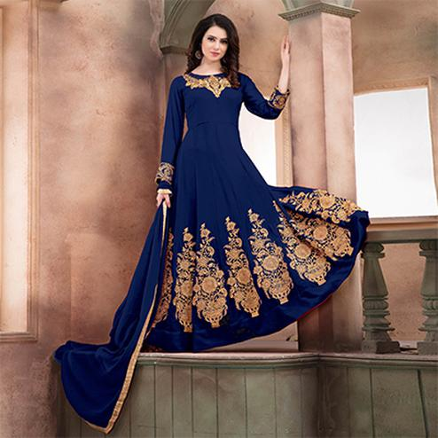 Graceful Blue Embroidered Designer Faux Georgette Anarkali