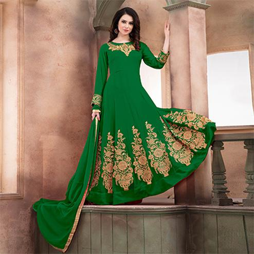 Marvellous Green Embroidered Designer Faux Georgette Anarkali