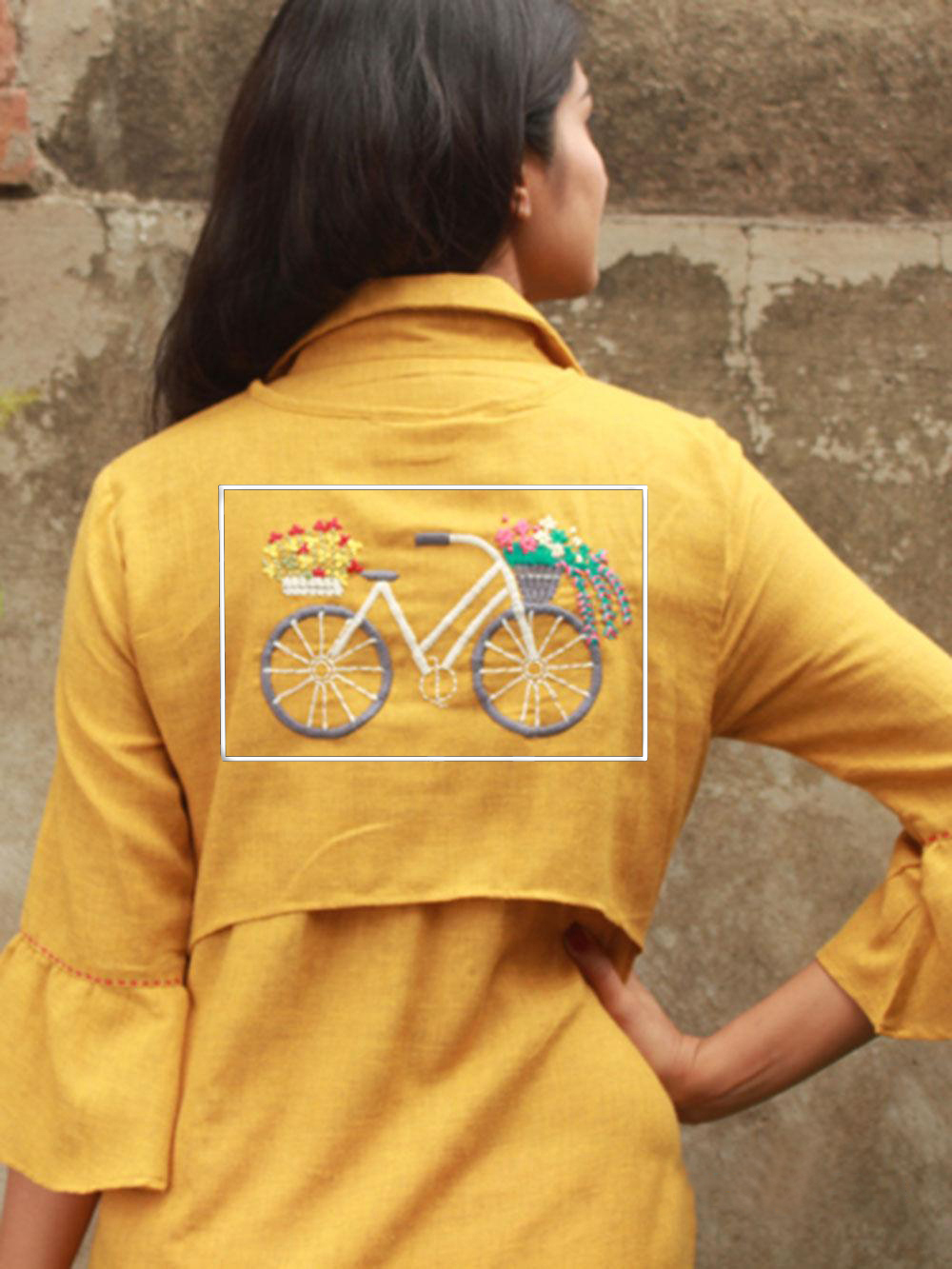 Fancy Yellow Designer Embroidered Shirt Style Pure Rayon Kurti