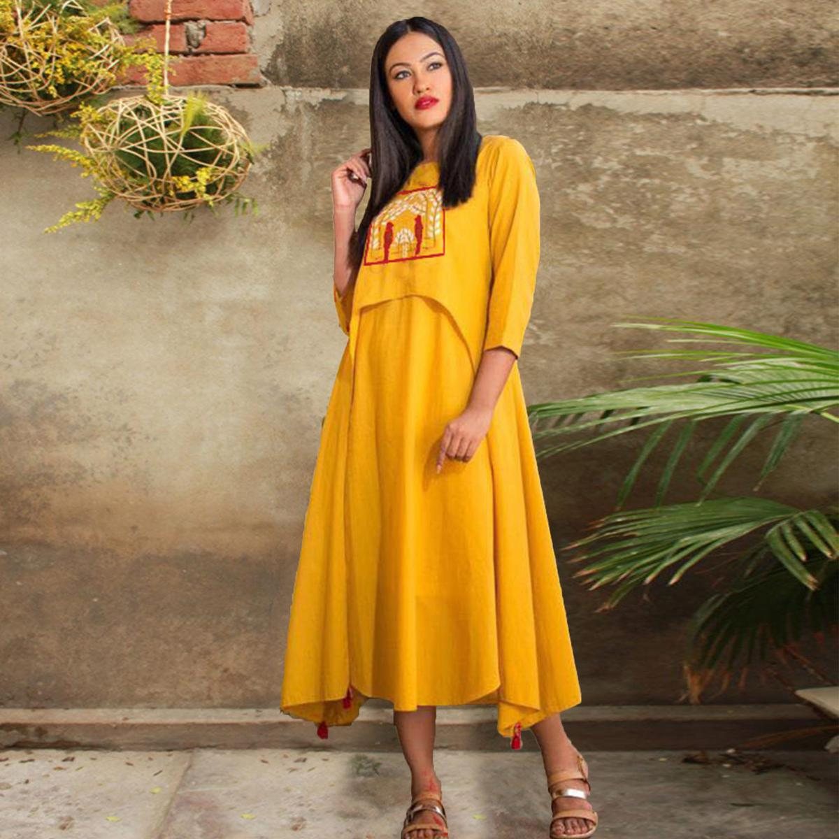 Stylish Yellow Designer Embroidered Pure Rayon Kurti