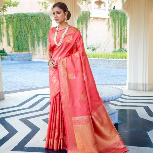 Glorious Peach Colored Festive Wear Woven Fancy Silk Saree