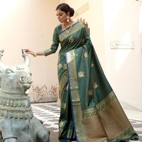 Attractive Olive Green Colored Festive Wear Woven Fancy Silk Saree