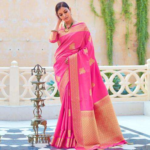 Beautiful Pink Colored Festive Wear Woven Fancy Silk Saree