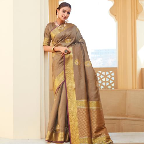 Graceful Brown Colored Festive Wear Woven Fancy Silk Saree