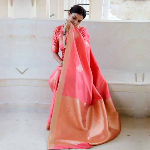Charming Peach Colored Festive Wear Woven Fancy Silk Saree