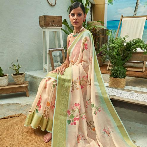 Engrossing Pastel Peach Colored Festive Wear Woven Linen Saree