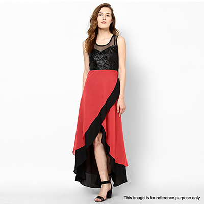 Black - Red Asymmetrical Kurti Dress