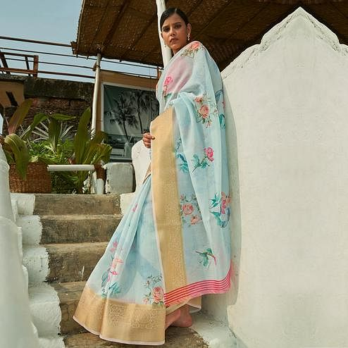 Eye-catching Light Blue Colored Festive Wear Woven Linen Saree