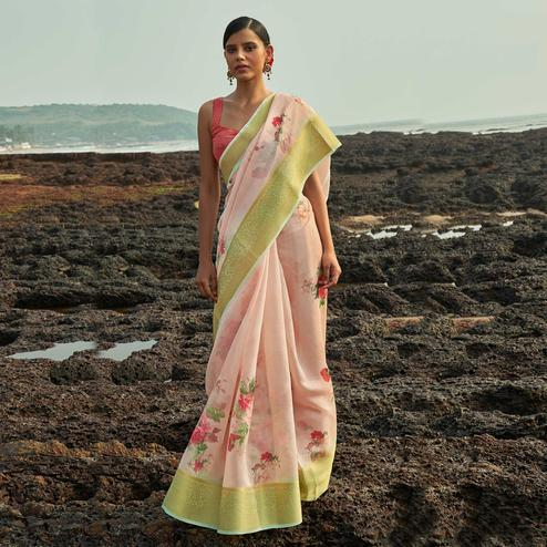 Gorgeous Light Peach Colored Festive Wear Woven Linen Saree